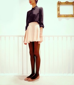 pink-asos-skirt-black-zara-shirt